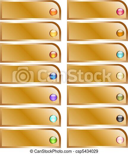 Goldene Knöpfe mit glänzenden Kugeln - csp5434029