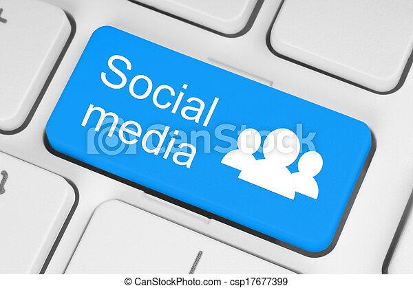 tastiera, media, sociale, bottone - csp17677399
