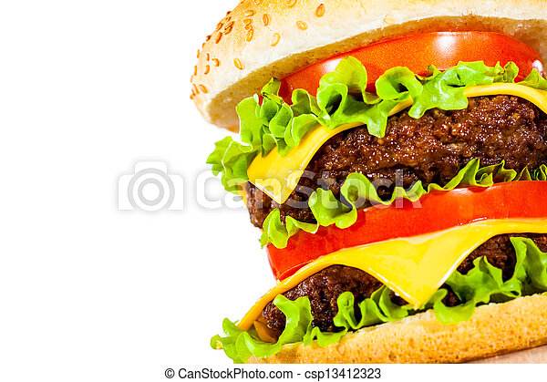 Tasty and appetizing hamburger on a white - csp13412323