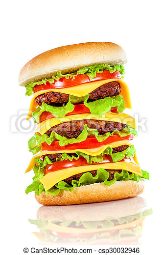 Tasty and appetizing hamburger on a white - csp30032946