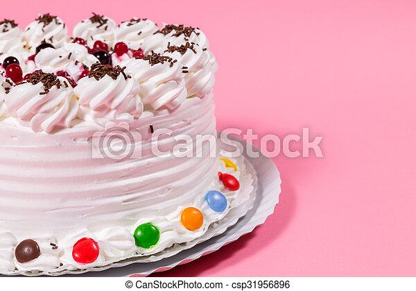Tasty Creamy Birthday Cake Colorful Candy Adorned
