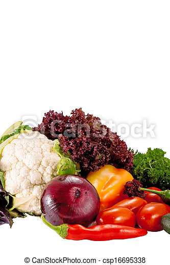 Tasty fresh vegetables for salad preparation isolated on white background - csp16695338