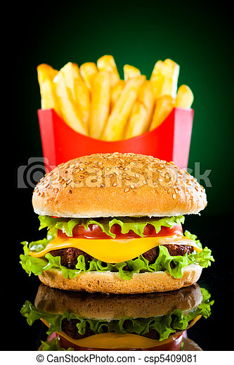 Tasty hamburger and french fries - csp5409081
