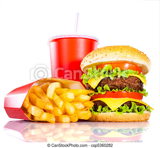 Tasty hamburger and french fries - csp5360282