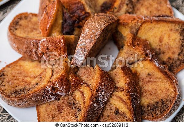 Tasty homemade traditional fruit cake - csp52089113