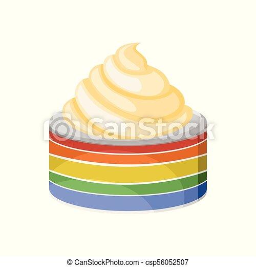 Tasty Rainbow Cake With White Frosting Illustration Tasty Rainbow