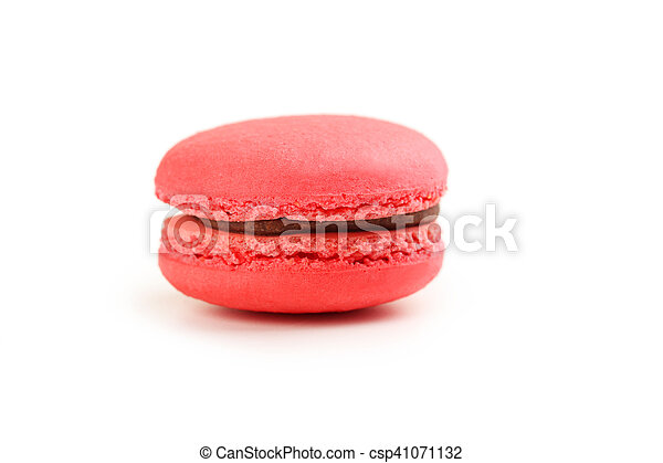Tasty red macaron isolated on white - csp41071132