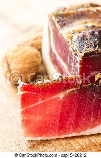 Tasty slices of Italian speck - csp15426212