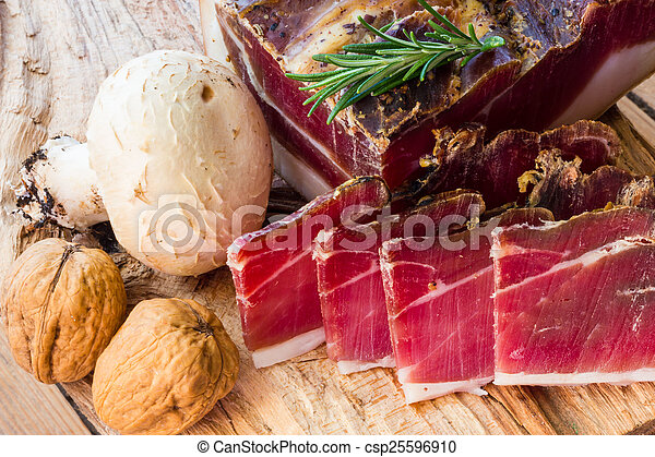 Tasty slices of Italian speck - csp25596910