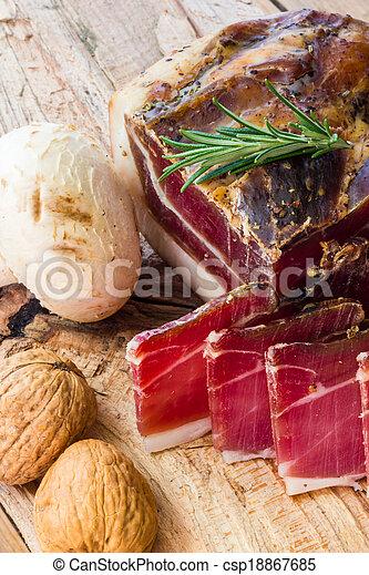 Tasty slices of Italian speck - csp18867685