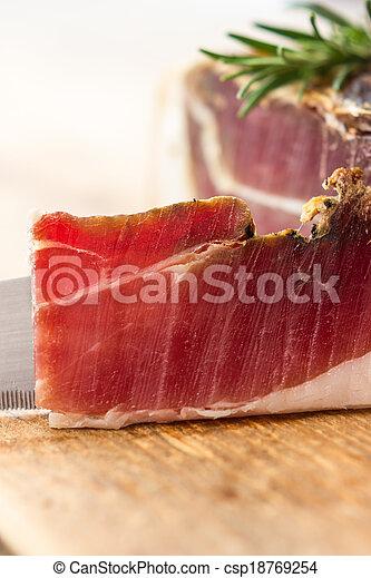 Tasty slices of Italian speck - csp18769254