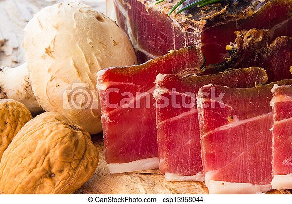 Tasty slices of Italian speck - csp13958044