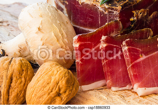 Tasty slices of Italian speck - csp18860933