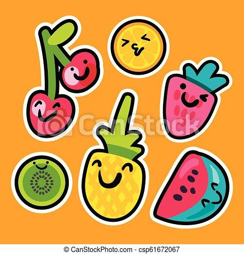 Tasty Sweet Fruits And Berries Set With Emoji