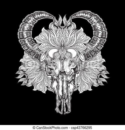 Tatoeëren, flower., schedel, werken, illustratie, hand ...