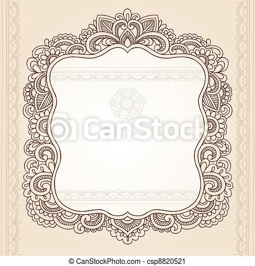tatoeëren, paisley, henna, frame, doodle - csp8820521