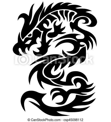 Tatouage 10 Tribal Eps Illustration Dragon Vecteur Noir