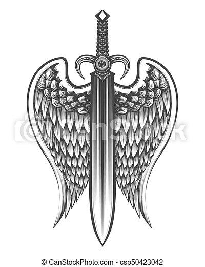 tatouage, ailes, épée. tatouage, illustration, ailes, vecteur, épée