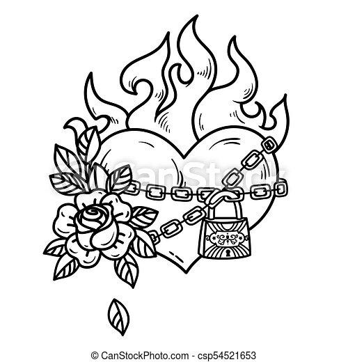 Tatouage Amour Brûlé Coeur Illustration Arrière Plan Enchaînement Roses Noir Blanc