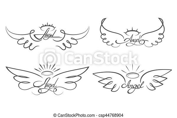 Aile Ange Tatouage tatouage, angélique, illustration., ange, icônes, ailé, ailes