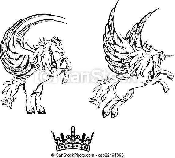 Tatouage cheval p gase set8 autocollant tatouage cheval ensemble format diter - Comment dessiner un pegase ...
