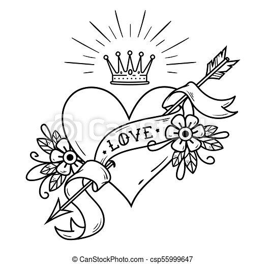 Tatouage Coeur Transpercé Couronne Flèche Ruban