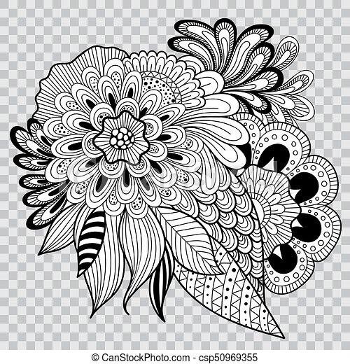 Tatouage Coloration Arrière Plan Fleur Noir Artwork Floral Blanc Transparent