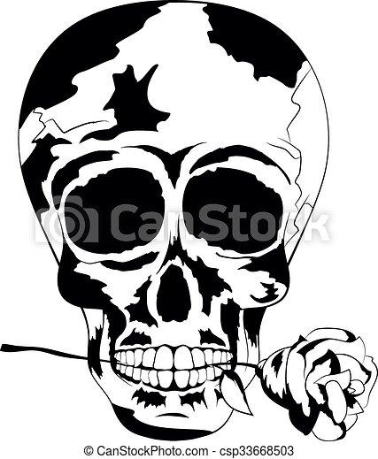 Rose Noire de la Mort Crâne