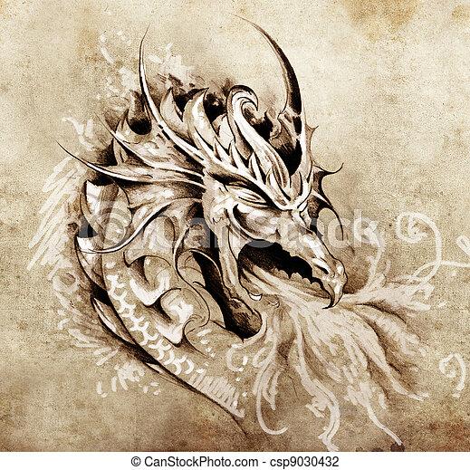 tatouage, croquis, brûler, dragon, colère, blanc, art - csp9030432