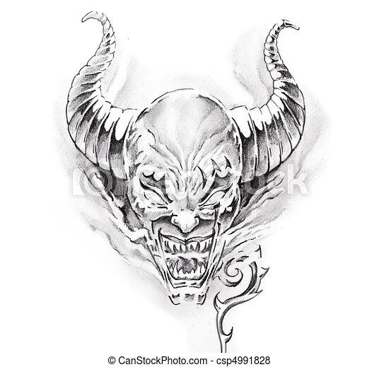 Tatouage croquis diable art - Dessin de demon ...
