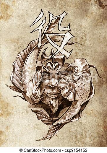 tatouage, croquis, guerrier, vendange, style, art japonais , csp9154152