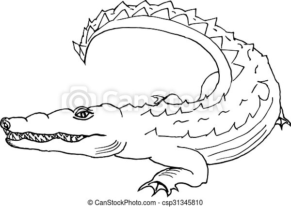 Tatouage Dessiner Coloration Textiles Croquis Main Enregistrement Blanc Cartes Crocodile Style