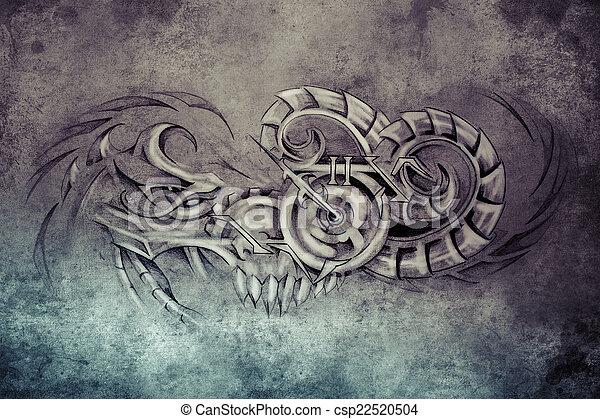 Tatouage dessiner diable illustration horloge sur fait main vintag tatouage dessiner - Dessiner un diable ...