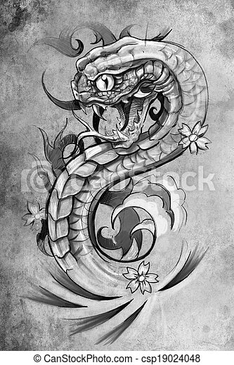tatouage dessiner illustration vendange sur papier fait main serpent tatouage dessiner. Black Bedroom Furniture Sets. Home Design Ideas