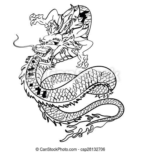 Tatouage dragon japonaise tshirt4 tatouage format japonaise dragon tshirt vecteur - Dragon japonais dessin ...