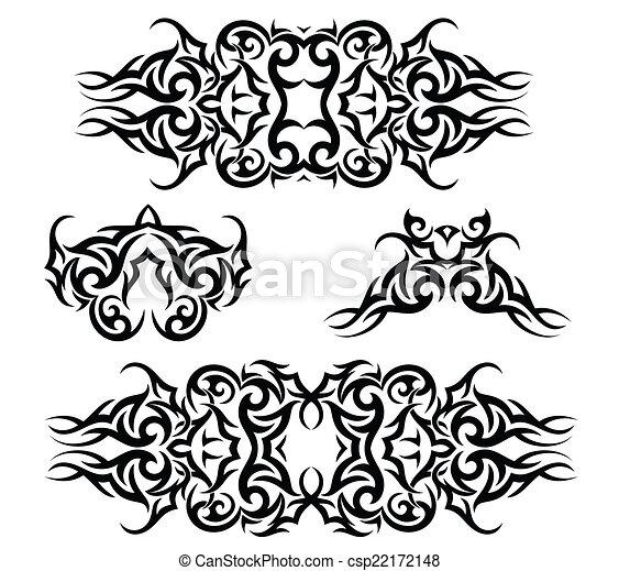 Tatouage ensemble bras bande tatouage ensemble art bande vecteur bras - Tatouage bande bras ...