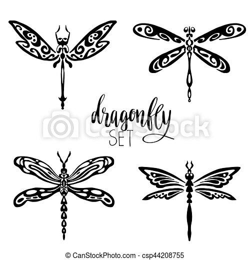 tatouage, ensemble, libellules. illustration, être, ensemble