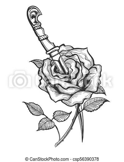Tatouage Fleur Poignard Piersed Rose Tatouage Fleur