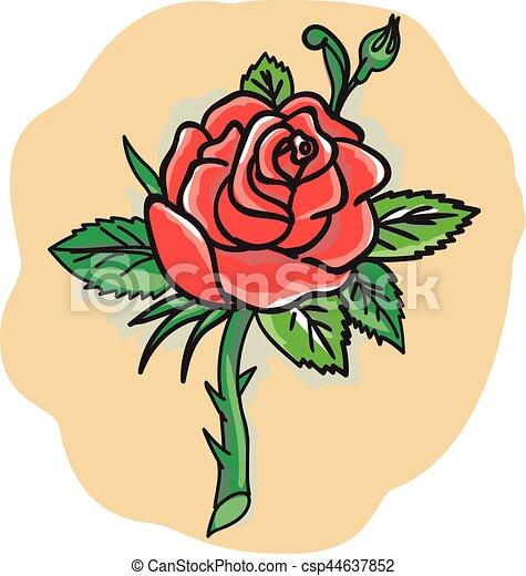 Tatouage Fleur Rose Feuilles Epine Bourgeon Tatouage Style