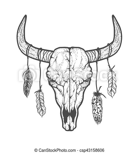 Tatouage illustration cr ne dessin tribal plumes - Dessin de toro ...