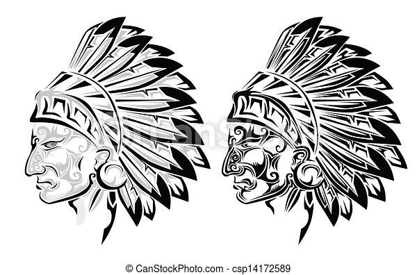 tatouage, indien amérique, chef.