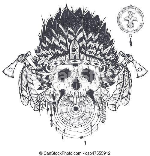 tatouage, indien, crâne, illustration, vecteur, chapeau, humain