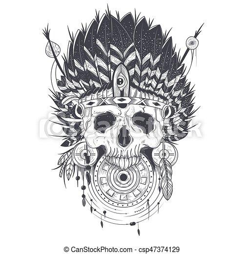Tatouage indien cr ne illustration vecteur chapeau illustration vectorielle - Tatouage crane indien ...