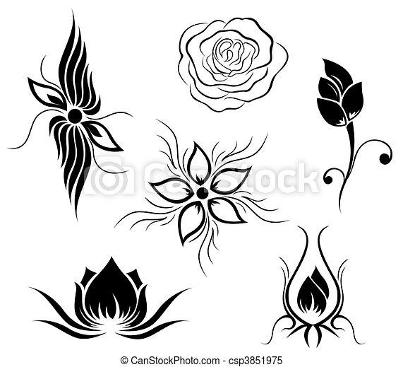 Tatouage Modele Fleur Image Boucles Arriere Plan Noir Blanc