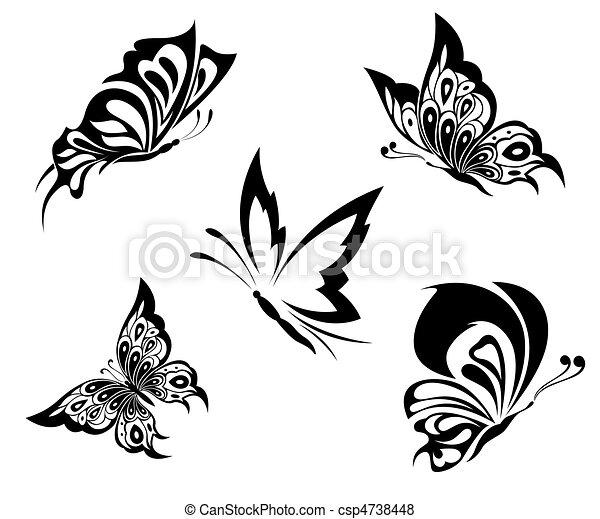 Dessin Papillon Tatouage tatouage, papillons, noir, blanc. tatouage, papillons, ensemble