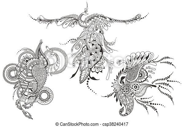 Tatouage Phénix Paons Template Three Oiseau