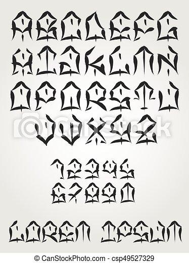 Tatouage Police Ouest Cote Ecrit Vecteur Graffiti Alphabet Main Lettering Tatouage Police Lettres Coups Canstock