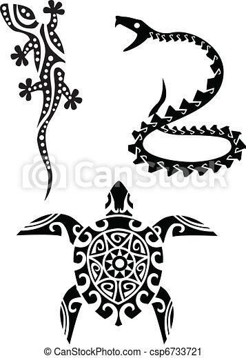 tatouage, reptile, tribal - csp6733721