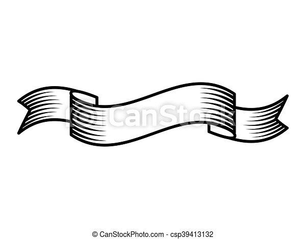 Tatouage style isol dessin ruban ic ne tatouage style isol illustration vecteur - Dessiner un ruban ...
