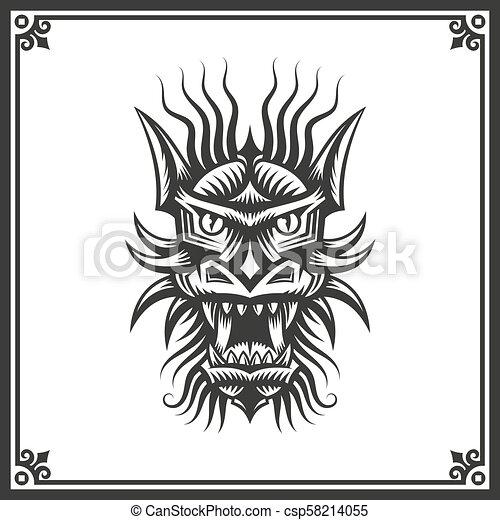 Tatouage Tete Dragon Chinois Decoratif Tatouage Tete Frame Chinois Dragon Vecteur Noir Blanc Illustration Canstock